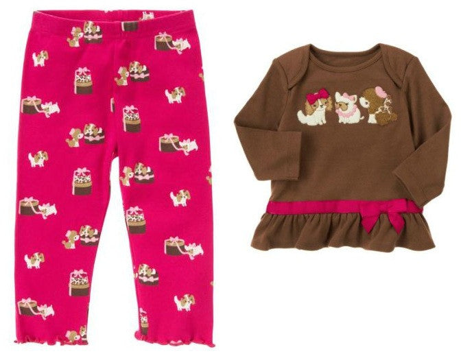 f322aa898b331 Baby Clothes | Gymboree Baby Girl 2 Piece Doggie Shirt and Leggings Pants 12 -18