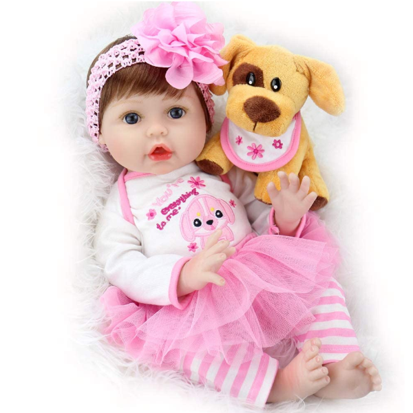 Baby Doll 22 Inch Lifelike Real Baby Doll Weighted Baby Girl with Puppy Gift Set