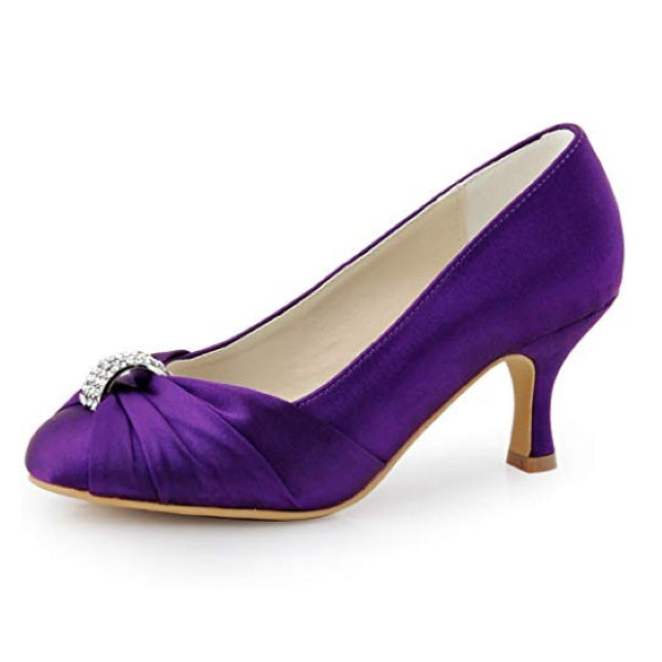 Satin Purple Women Pumps Mid Heel Closed Toe with Brooch