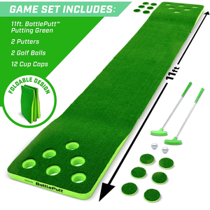 Battleputt Golf Putting Game, 2-on-2 Pong Style Play with 11' Putting Green, 2 Putters and 2 Golf Balls