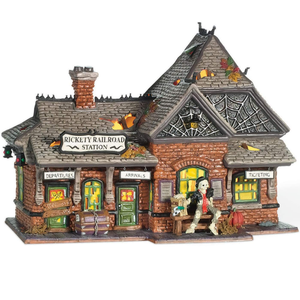 Department 56 Snow Village Halloween Rickety Railroad Station Lit Building