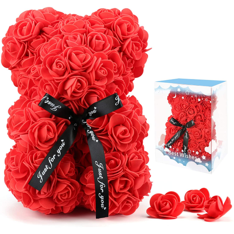 Rose Flower Bear Artificial Flowers Forever Bear, Romantic Gift for Her, Valentines Day