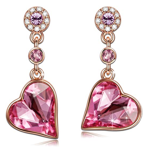 Jewelry | Rose Lover Heart Earrings Rose Gold Plated with Swarovski Crystals