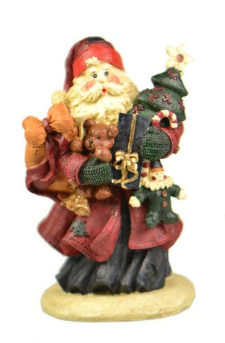 Holiday | Christmas Red Coat Tree and Toys Santa Claus Figurine