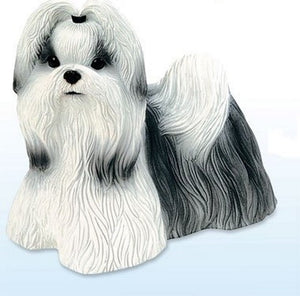Figurines | Dog Sculpture Black and White Shih Tzu