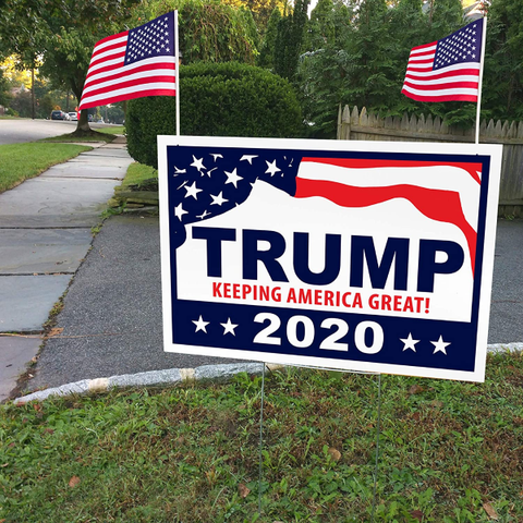 "Donald Trump for President 2020 Yard Signs with H-Frames 12""x18"" (with 2 American Flags)"