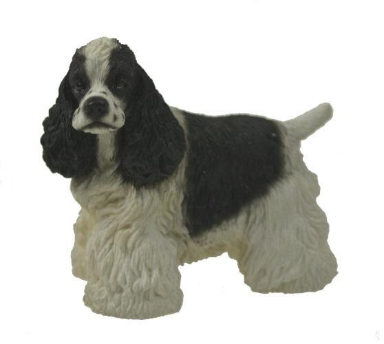 Figurines | Dog Sculpture Black and White Cocker Spaniel Dog