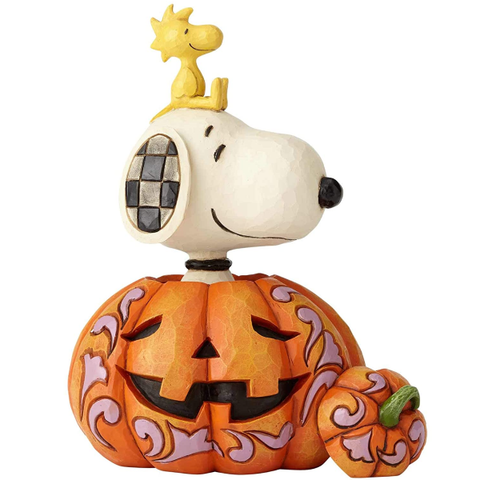 Peanuts by Jim Shore Snoopy and Woodstock in Pumpkin Figurine