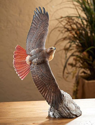 Wildlife Sculpture | Soaring Red-Tailed Hawk by Phil Galatas