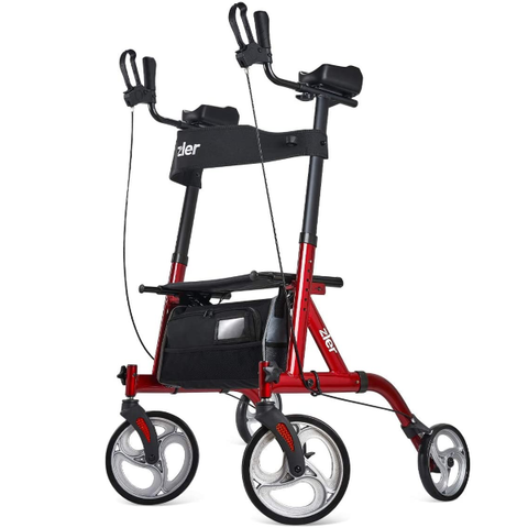 "Upright Walker, Tall Walker with 10"" Front Wheels, Stand Up Folding Rollator Walker Back Erect Rolling Mobility Walking Aid with Backrest"