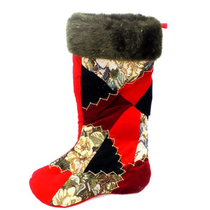 Holiday | Christmas Patchwork Stocking with Fur Trim