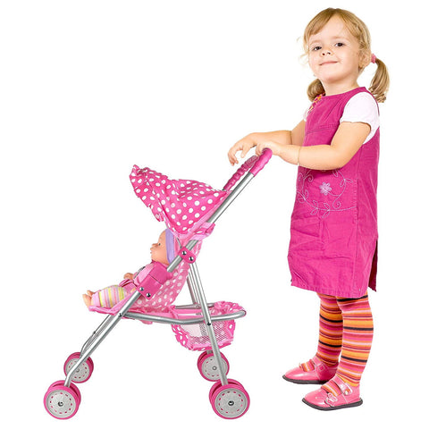 Doll Accessories |  Pink & White Polka Dots Foldable Doll Stroller With Hood