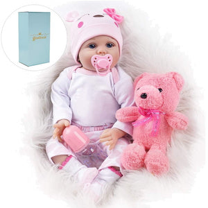 Baby Doll 22 Inch Realistic Lifelike Baby Doll Weighted Reborn Baby with Pink Teddy Bear