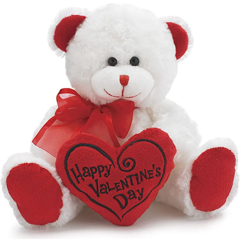 Plush Stuff |  White & Red Happy Valentines Day Plush Teddy Bear Stuffed Animal Gift