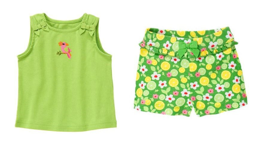 Baby Clothes | Gymboree Baby Girl Toucan Tank Shirt and Citrus Flower Shorts