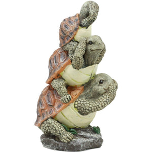 Whimsical Acrobatic See Hear Speak No Evil Turtles Figurine