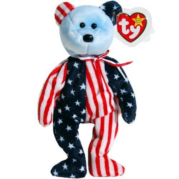 Ty Beanie Baby Spangle Bear Stars & Stripes Patriotic Teddy with Blue Face