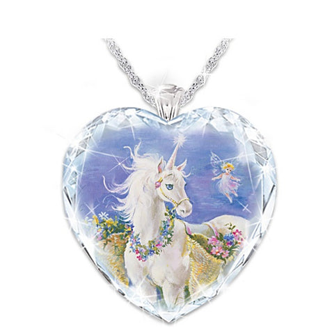 Jewelry | Unicorn Crystal Heart Necklace