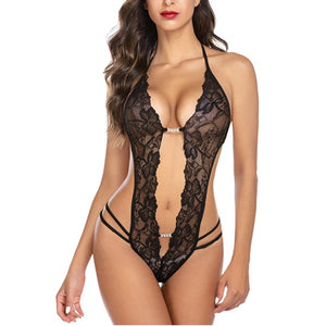 Lingerie | Deep V Lingerie Lace Teddy Mini Bodysuit