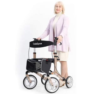 Mobility Aid - Aluminum Rollator Walker, with 10'' Wheels and Seat Compact Folding Design Lightweight Baking Complimentary Carry Bag