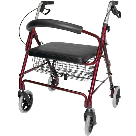 Rollator Walker with Extra Wide Seat and Backrest, Adjustable Handle Height, Removable Storage Basket and a Durable Lightweight Frame that Easily Folds while Supporting up to 375 pounds