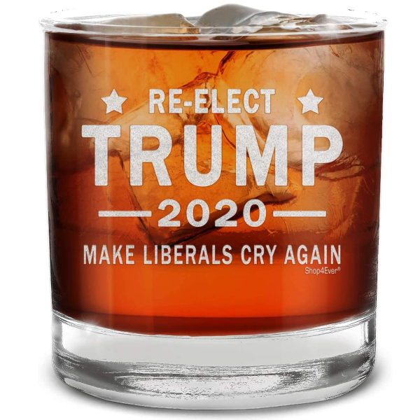 Re-elect Donald Trump 2020 Make Liberals Cry Again Engraved Whiskey Glass