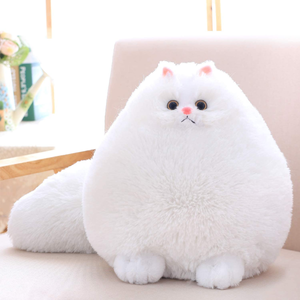 Fat White Plush Toy Cat Stuffed Animal