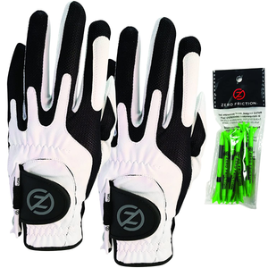 White Men's Compression-Fit Synthetic Golf Glove (2 Pack), Universal Fit One Size