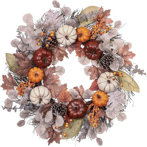 Fall Wreath for Front Door 24 inch Harvest Wreaths Home Decor