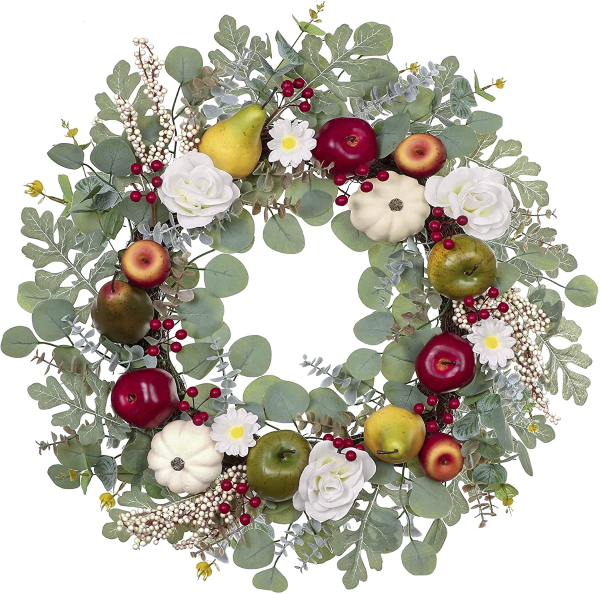 Autumn Wreath with White Pumpkins Berry Clusters Apple Pear Roses