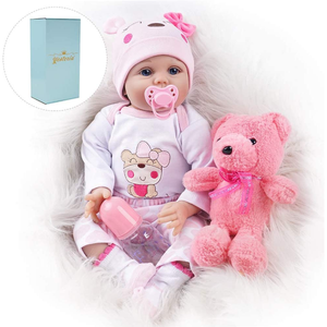 Baby Doll Toy with Teddy Bear, Pacifier and Bottle