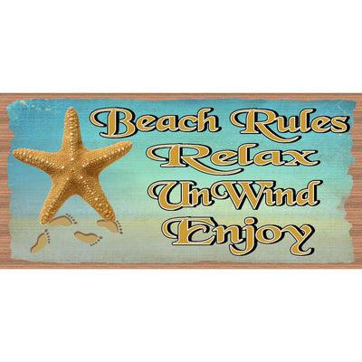 Beach Wood Signs - Beach House Rules- GS 1055 -Tropical Sign