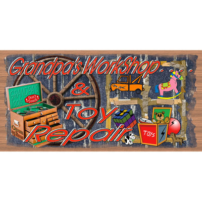 Grandpa Wood Signs - Grandpa Plaque GS 123 Grandpa's Workshop & Toy Repair