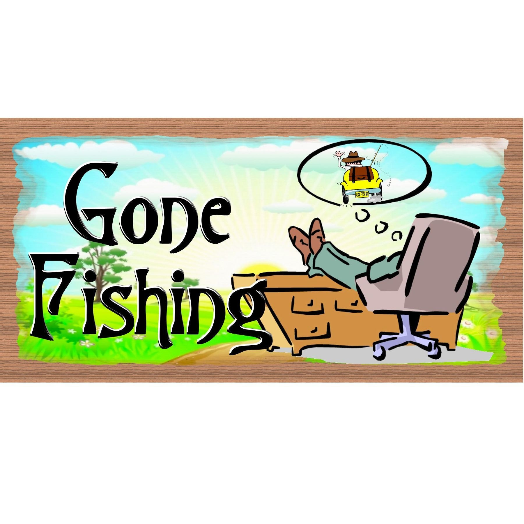 Fishing Wood Signs - GS2338 - Fishing Wood Sign - Fishing plaque