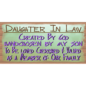 Daughter In Law Wood Signs - GS 1688 -Daughter In Law Plaque