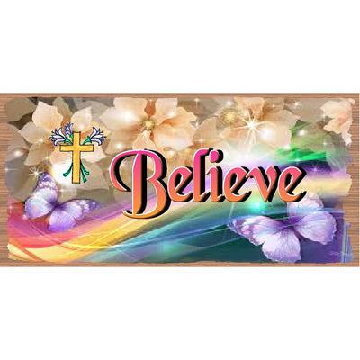 Easter Wood Signs - Believe GS 1722 Easter GiggleSticks Wood Plaque