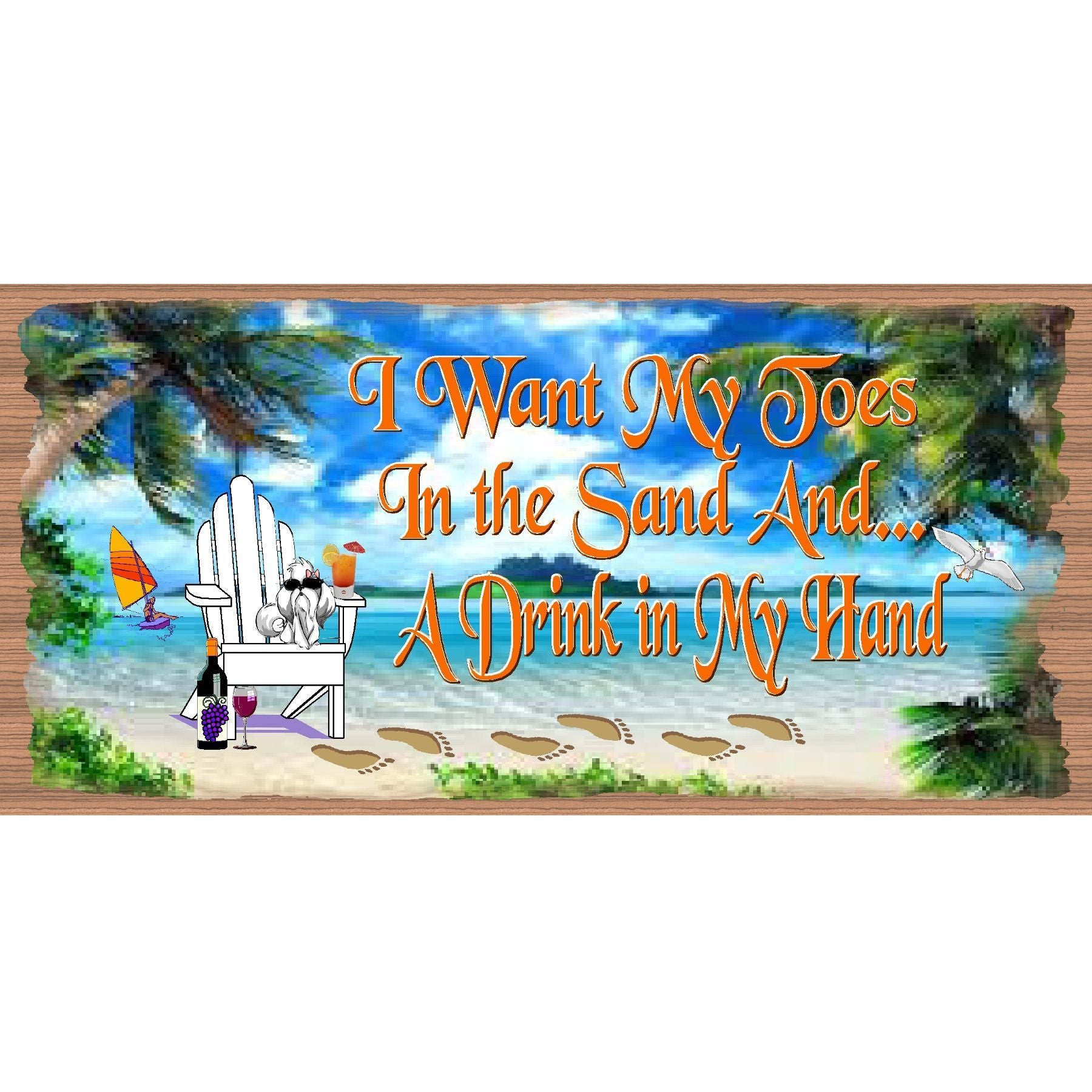 Beach Wood Signs -Toes In the Sand - GS 2218