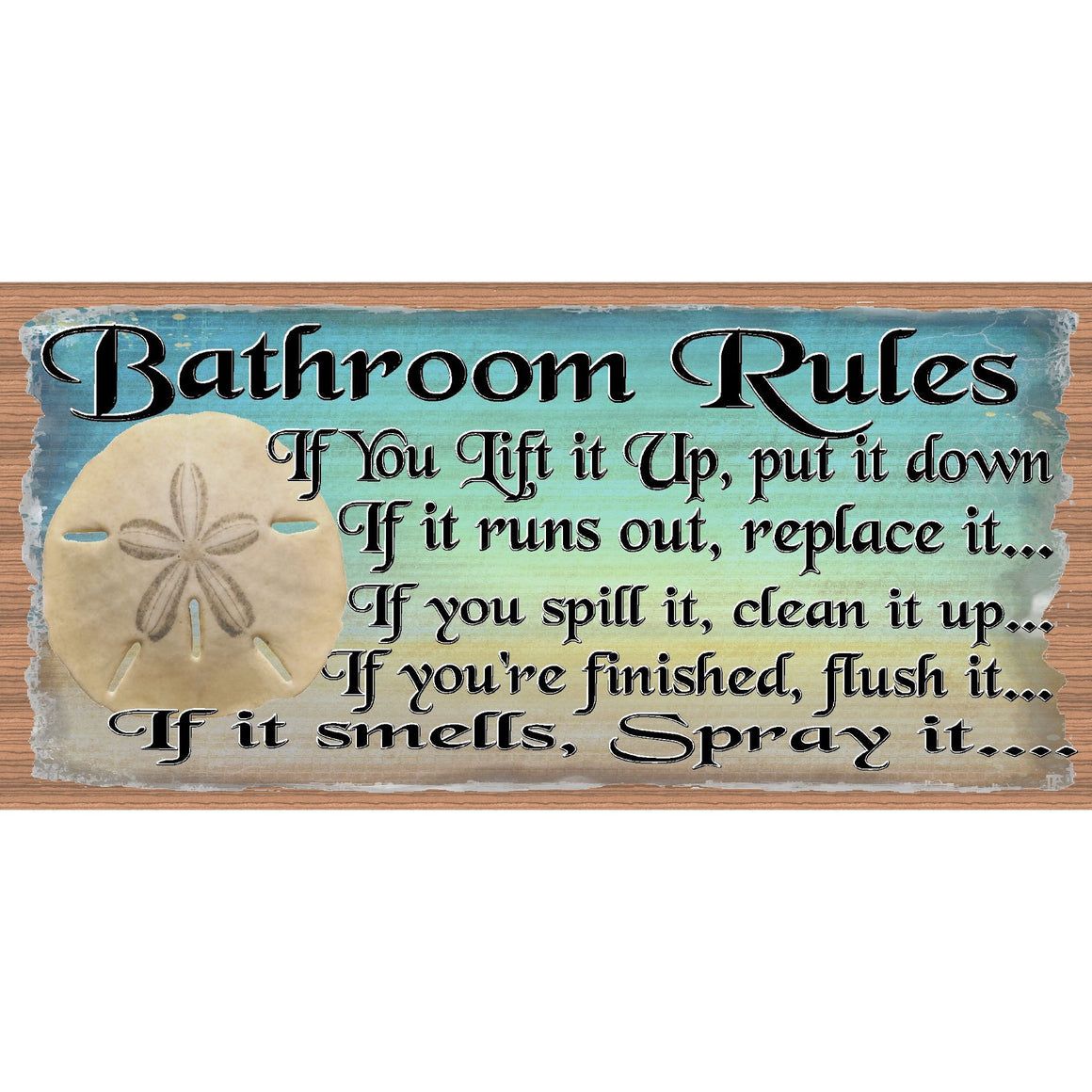 Bathroom Wood Signs -Bathroom Rules -GS 2274- Tropical Bathroom Plaque