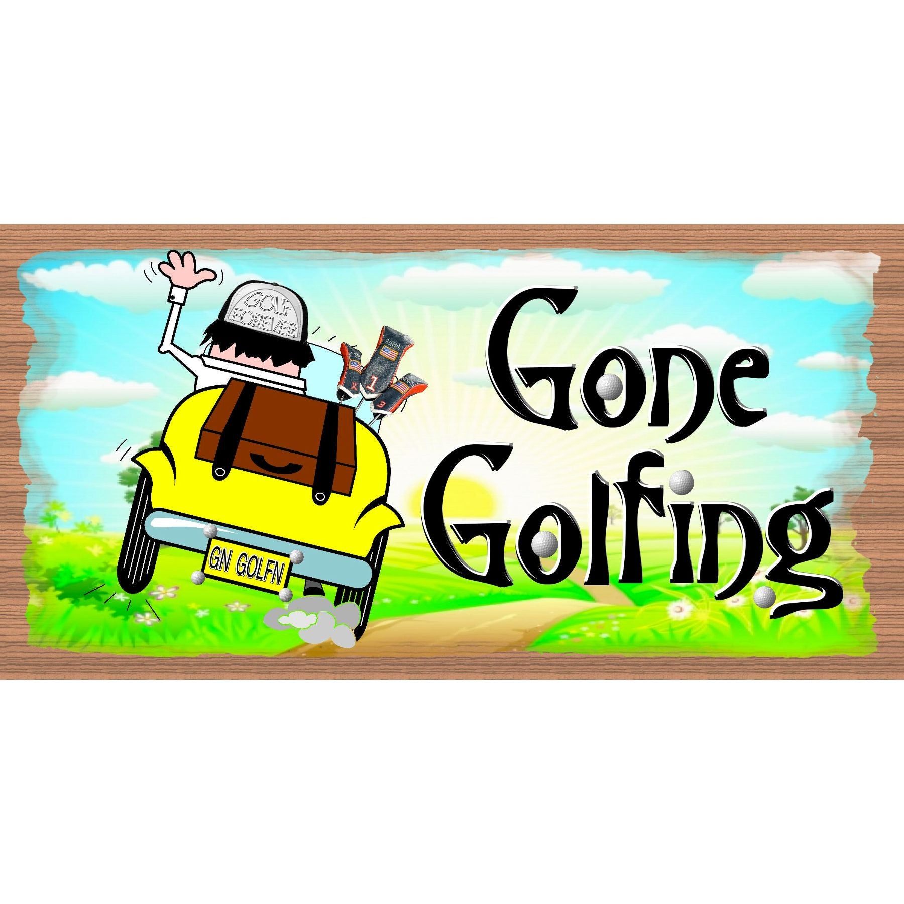 Golf Wood Signs - Gone Golfing - GS 2362 - Golf Plaque
