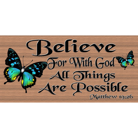 Spiritual Wood Signs -Spiritual Plaque -GS 2519 - Scripture Sign - Matthew 19:26