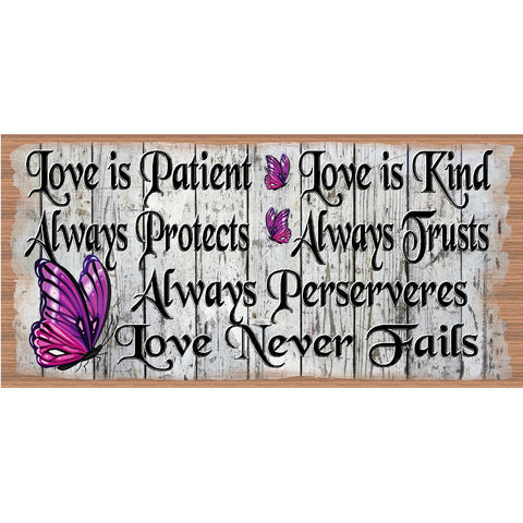 Spiritual Wood Signs -Spiritual Plaque -GS 2522 - Love is Patient Love is Kind