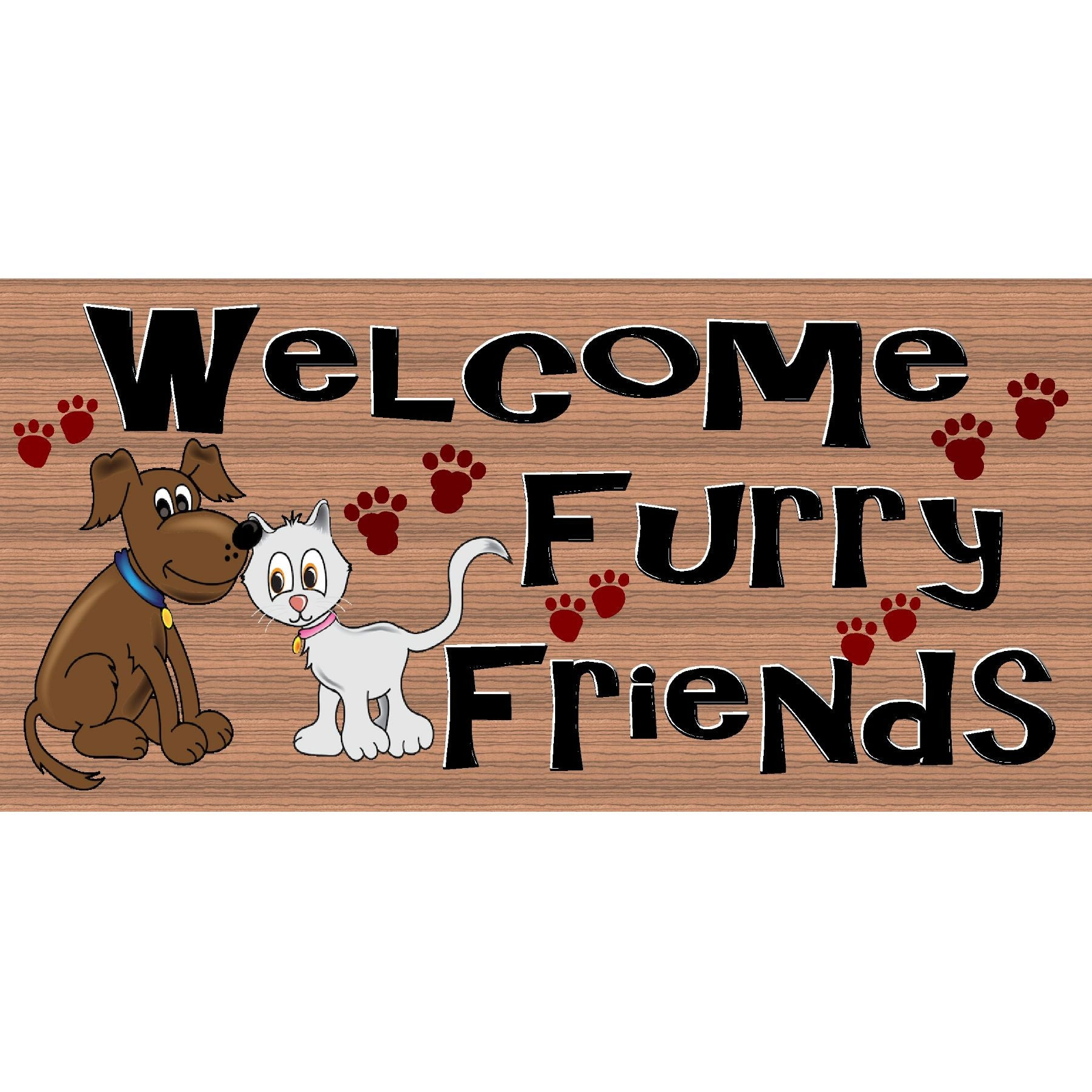 Dog & Cat Wood Signs - Welcome Furry Friends  GS 2527-Veterarian Sign