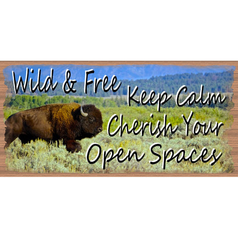 Bison Wood Signs -  Keep Calm - GS 2543 -Wild and Free - Wisdom