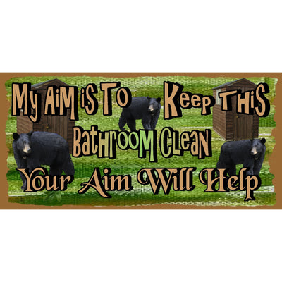 Bathroom Wood Signs -Black Bear Bathroom Sign - GS 2654