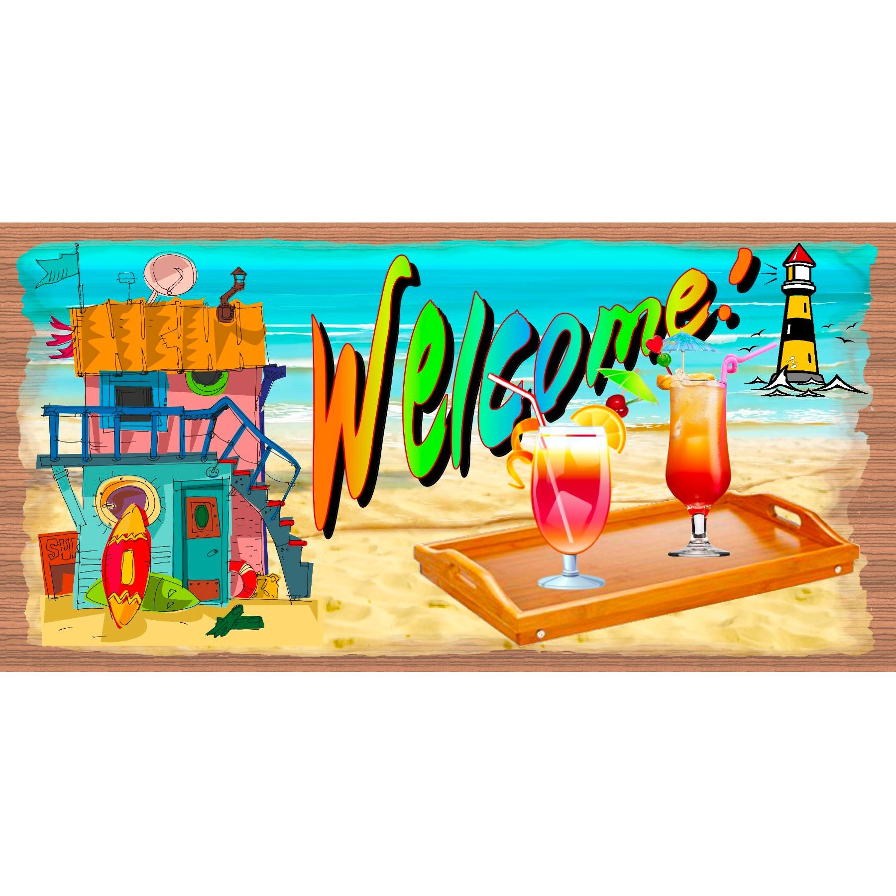 Beach & Tropical Wood Signs - GS 2754