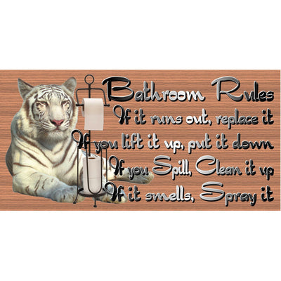 Bathroom Wood Signs -Bathroom Rules -GS 2773 Bathroom Plaque