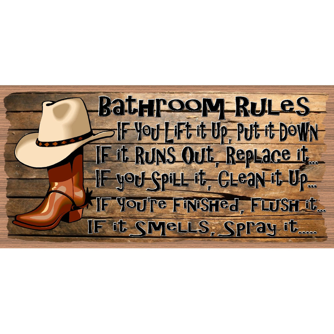 Bathroom Wood Signs -Western Bathroom Sign - GS 2837