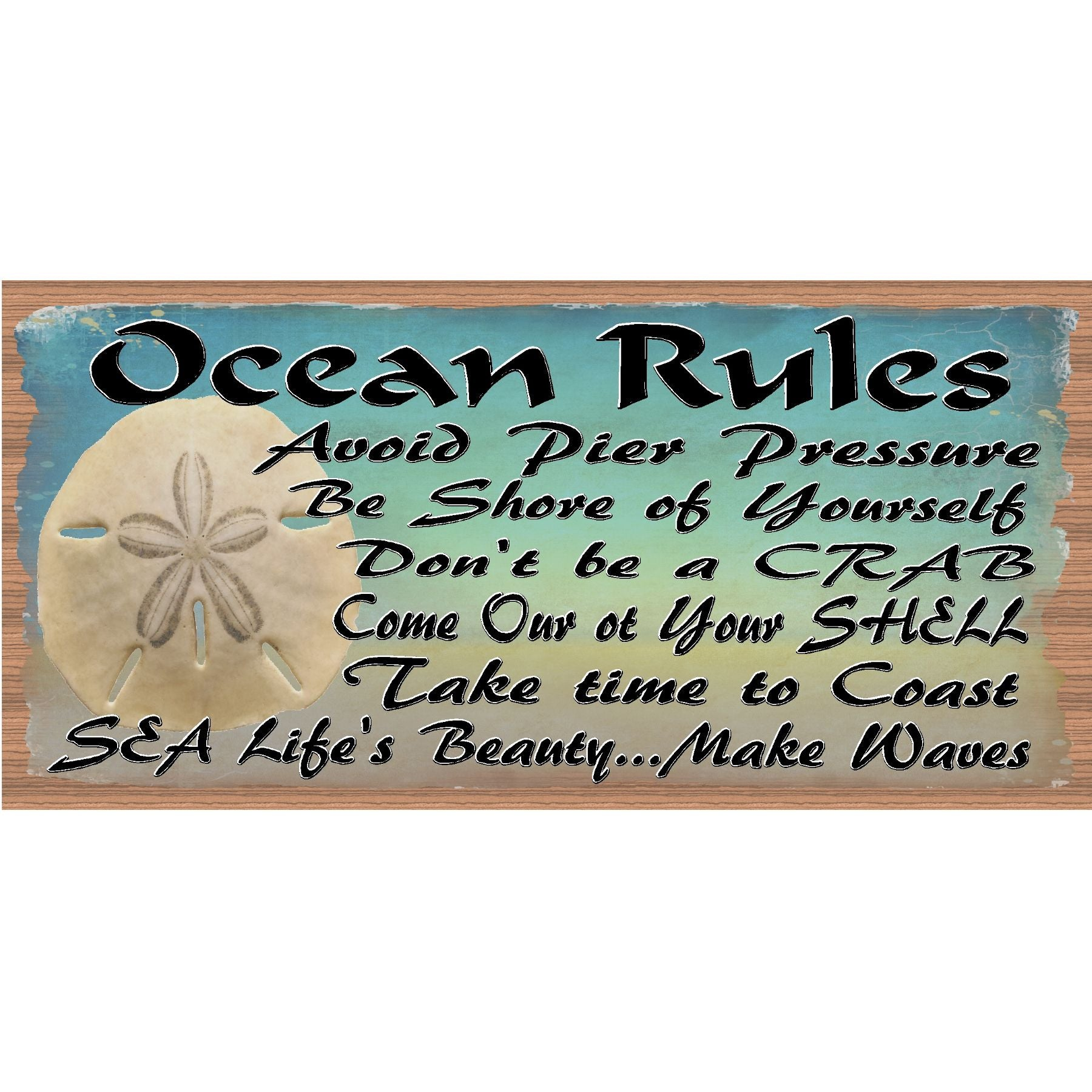 Tropical wood signs ocean rules gs 2872 tropical sign beach deco gigglesticks