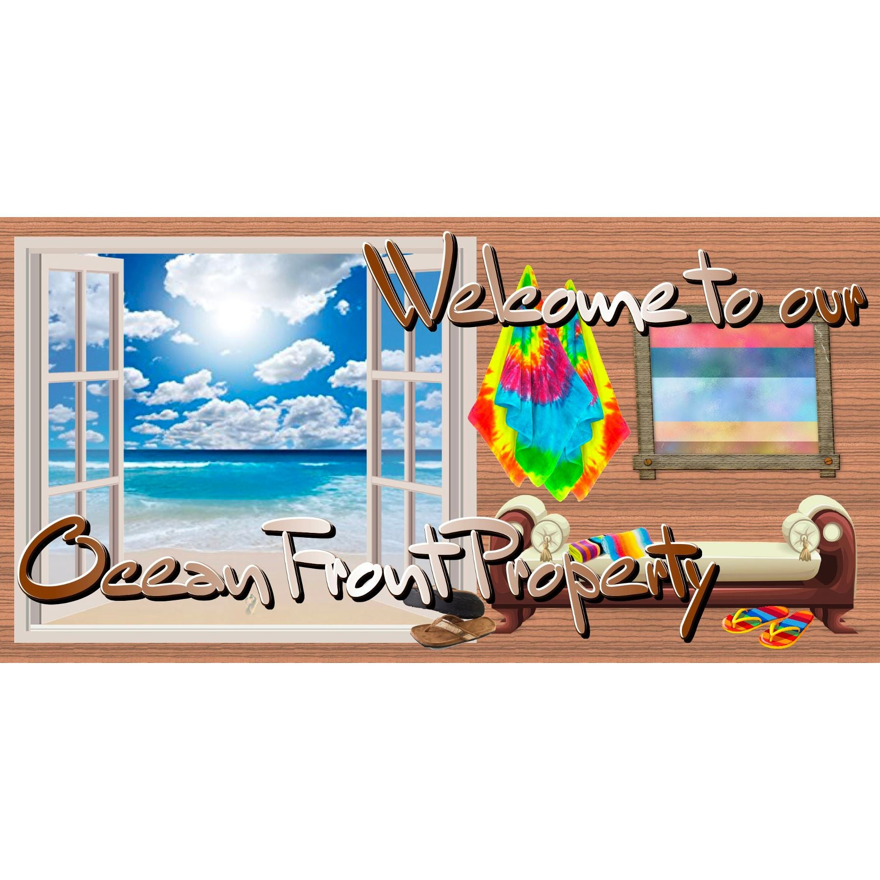 Beach & Tropical Wood Sign - GS 2949 - Beach Plaque