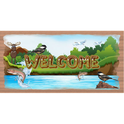 Lake Wood Signs- Welcome Sign Moose -GS 3021 -Chickadee Plaque